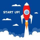 Commencez l'espace Rocket Takes Off de concept Images libres de droits