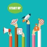 Commencez la conception plate de concept d'affaires illustration de vecteur