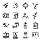 Commencez la ligne icônes réglées Photographie stock