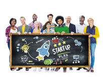 Commencez le concept d'éducation d'étudiants de succès de lancement d'affaires images libres de droits