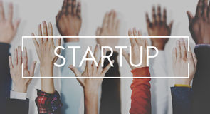 Commencez le concept d'occasion de lancement d'entreprise image libre de droits