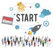 Commencez le concept de début de stratégie de succès de mission image libre de droits