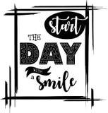 Commencez le jour avec un vecteur de noir de citation d'inspiration de sourire Illustration de Vecteur