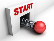 Commencez vers le haut le concept d'affaires avec la sphère rouge illustration stock