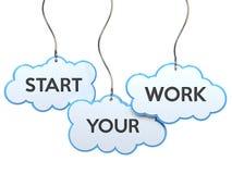 Commencez votre travail sur la bannière de nuage illustration stock