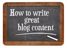 Comment écrire le grand contenu de blog Images stock