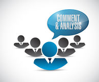 Comment and analysis teamwork sign Stock Photos
