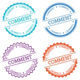 Comment badge isolated on white background. Flat style round label with text. Circular emblem vector illustration Stock Photography