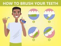 Comment balayer votre instruction étape-par-étape de dents illustration stock