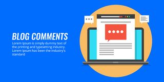 Blog comments - comment on a blog post, blogging concept. Flat design vector illustration. Comment on a blog article, displaying on a laptop computer with chat Stock Photography