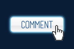 Comment. Button with hand cursor Royalty Free Stock Photos