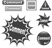 Comment button web glossy icon. Comment button set of different form web glossy icon stock illustration