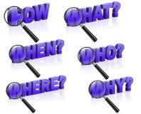 Comment ce qui pourquoi où quand les questions recherchent des réponses Image stock