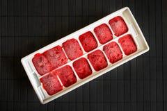 Comment congeler des fraises La purée de fraise est congelée en Th images stock