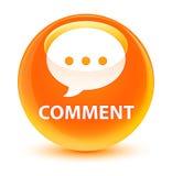 Comment (conversation icon) glassy orange round button Stock Photography