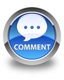 Comment (conversation icon) glossy blue round button Royalty Free Stock Images