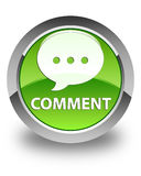 Comment (conversation icon) glossy green round button Stock Images