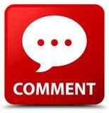 Comment (conversation icon) red square button Stock Images