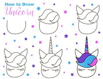 Comment dessiner la licorne mignonne Étapes faciles pour l'activité d'enfants Créature de Kawaii avec des yeux et ivrognes image stock