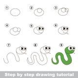 Comment dessiner un serpent vert Images libres de droits