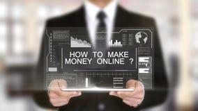 Comment gagner l'argent en ligne, interface futuriste d'hologramme, réalité virtuelle augmentée banque de vidéos