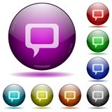 Comment glass sphere buttons. Set of color comment glass sphere buttons with shadows Stock Photo