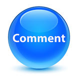 Comment glassy cyan blue round button Stock Image