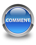 Comment glossy blue round button Stock Images