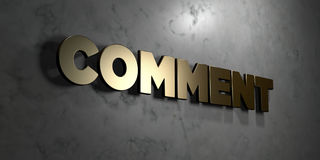 Comment - Gold sign mounted on glossy marble wall  - 3D rendered royalty free stock illustration Stock Images