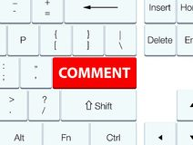 Comment red keyboard button Stock Photo