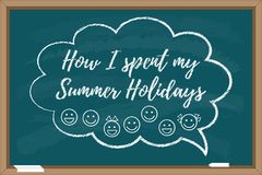 Comment j'ai passé mes vacances d'été Inscription dessinée par halk de ¡ de Ð Images stock