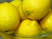 Comment laver des citrons ? Citrons jaunes mûrs juteux dans l'eau Riches en bonne santé de fruit tropical de vitamine C images libres de droits