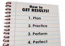 Comment obtenez la pratique en matière de plan de résultats exécutez parfait illustration libre de droits