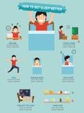 Comment obtenir à sommeil meilleur infographic, illustration illustration de vecteur