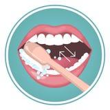 Comment se brosser les dents avec la brosse à dents illustration libre de droits