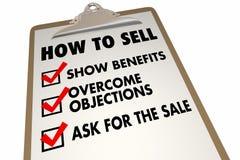 Comment vendre la liste de contrôle de conseil d'instructions illustration stock