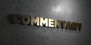 Commentaar - Gouden tekst op zwarte achtergrond - 3D teruggegeven royalty vrij voorraadbeeld stock illustratie