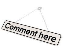 Commentaar hier banner Stock Afbeeldingen