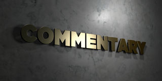 Commentary - Gold text on black background - 3D rendered royalty free stock picture Stock Photo