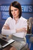 Commentatore del notiziario Fotografia Stock
