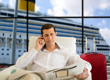 Commenting news in vip zone harbor terminal Stock Photo