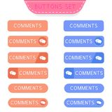 Comments buttons set. Collection of web buttons. Vector illustration isolated on white background Royalty Free Stock Photography