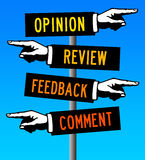 Comments and feedback. Providing comments, reviews, opinions and feedback Royalty Free Stock Photography