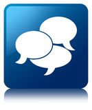 Comments icon blue square button Stock Images