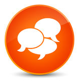 Comments icon elegant orange round button Royalty Free Stock Photography
