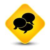 Comments icon elegant yellow diamond button Stock Photos