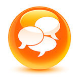 Comments icon glassy orange round button Stock Photography