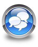 Comments icon glossy blue round button Stock Photos