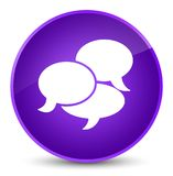 Comments icon elegant purple round button. Comments icon isolated on elegant purple round button abstract illustration Stock Photography