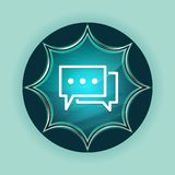 Comments icon magical glassy sunburst blue button sky blue background vector illustration